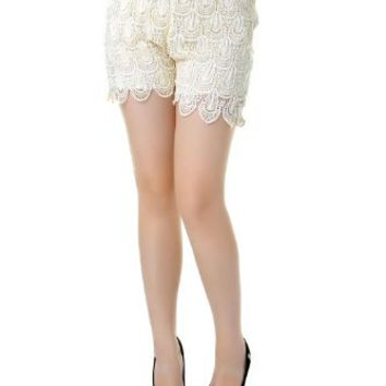 Anna-Kaci S/M Fit Beige Peacock Inspired Feather Crochet High Waisted Shorts
