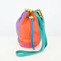 vintage 80s NEON multicolor COLORBLOCK cross body BUCKET bag