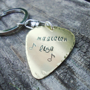 Brass guitar pick keychain hand stamped muscian life with music notes