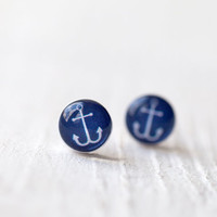 Tiny ear posts  Nautical  Anchor E101 by BeautySpot on Etsy
