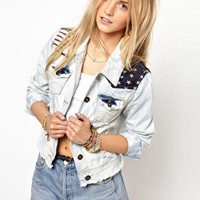 Primark American Flag Denim Jacket at asos.com