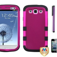 Premium New Samsung Galaxy S3 III I747 / I9300 Armor Hybrid Two Layer Phone Protector Cover Case With Purple Touch Screen Stylus Pen, Screen Protector And Pry Tool (Pink):Amazon:Beauty