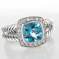 David Yurman 7mm Blue Topaz Petite Albion Ring