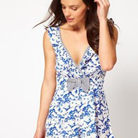 River Island | River Island Blue Peter Pan V Neck Playsuit at ASOS