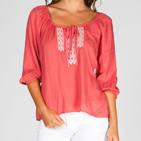 FULL TILT Embroidered Womesn Hi Low Peasant Top