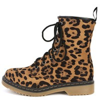 Topic-8 Camel Leopard Lace Up Combat Boots | MakeMeChic.com