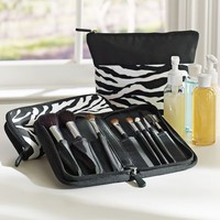 Zebra Make-Up Brush Case + Travel Pouch