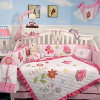 Soho Spring Time Butterfly Baby Crib Nursery Bedding Set 13 pcs included Diaper Bag with Changing Pad & Bottle Case
