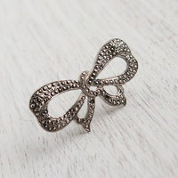 Vintage Sterling Silver Bow Brooch - Antique 1940s 1950s Marcasite Bow Tie Jewelry / Tied in a Knot