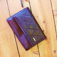 vintage 1980s Bally burgundy wristlet clutch quilted leather bag. burgundy leather clutch. burgundy leather wristlet. mini ipad ereader case
