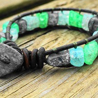 Crackled Glass - The Cloudy Day Single Wrap Leather Bracelet | GemOnAWire - Jewelry on ArtFire