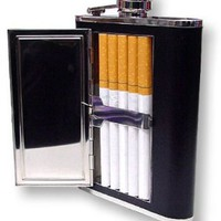 6 oz. Flask with Built in Cigarette Case (For King Size & 100's):Amazon:Health & Personal Care