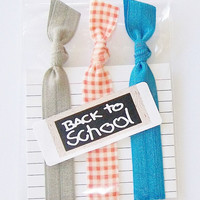 Back to SchoolSet of 3 Hair Ties by Lucky Girl Hair Ties Brand