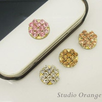 1PC Bling Paved Crystal Apple iPhone Home Button Sticker, Cell Phone Charm