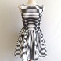 Audrey dress 50s prom party stripe satin bateau UK size 8 small s