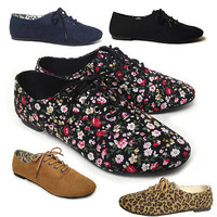 NEW Women's Lace Up Casual Canvas Flat Heel Oxford Shoes Flats BLACK TAN FLOWER