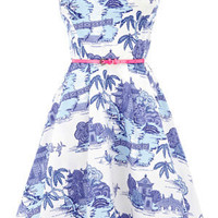 Oasis Floral Frocks | Multi Blue Scenic Full Skirted Dress | Womens Fashion Clothing | Oasis Stores UK