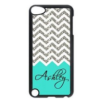 Design For You Colorful Coral Plus Chevron Monogrammed - Personalized IPOD TOUCH 5 Durable Case