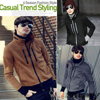 Mens Stand up Collar Blazer Jacket Zipper Hoodie Outerwear Slim Fit Casual Coat
