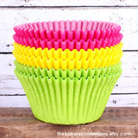 JUMBO Pink Yellow and Lime  Cupcake Liners by thebakersconfections