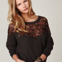 Lace Inset Pullover Sweatshirt at Free People Clothing Boutique