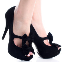Black-Suede Peep Toe Bow Stiletto Womens High Heel Platform Shoes | 55572