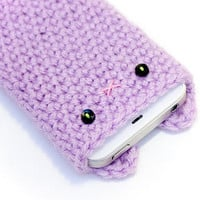 iPhone 4 / 4S Cozy - Lavender Crochet Kawaii Kitty