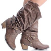 Light-Brown Round Toe Western Cowboy Womens High Heel Mid Calf Boots | 55713