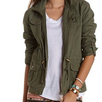Hooded Cotton Anorak Jacket: Charlotte Russe