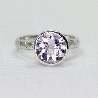 Light Amethyst Gemstone Ring in Sterling Silver, custom sized stacking ring