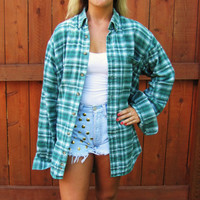 vintage distressed fade green lumberjack flannel shirt. faded green grunge shirt. oversized distressed flannel