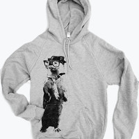 Unisex Pullover Hoody - OTTER (in a Fedora) - Flex Fleece Classic Sweatshirt - (2 Color Options) - American Apparel sizes xs s m l xl