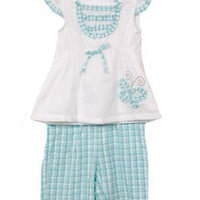 Infant Girls 2pc Blue White Gingham Seersucker Capri Pants Set, 12M