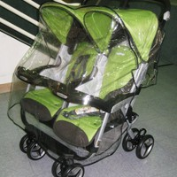 Sashas Rain and Wind Cover for Peg Perego Aria Twin, and Aria Twin 60/40 Twin Side by Side Stroller