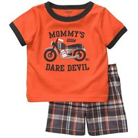Carter's 2 Piece T-Shirt and Plaid Short Set - Orange
