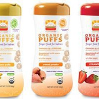 Happy Baby Organic Puffs 2.1 Oz Mixed 6 Pack (2 Strawberry, 2 Bananna, 2 Sweet Potato)