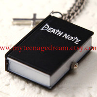 Death Note Pocket Watch locket Cuboid Necklace with a silver cross