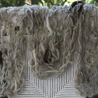 Hand Knit Scarf in Gray with raw wool Cocoons by bpenatzer on Etsy