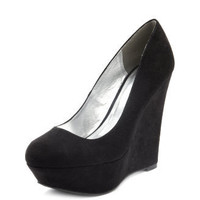 Charlotte Russe - Round-Toe Sueded Wedge
