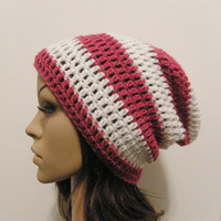LazyDay Slouch Beanie  Berry and White Stripes