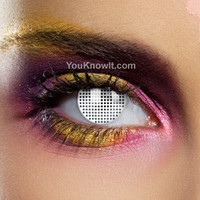 White Mesh Contact Lenses (Pair) | Coloured Contact Lenses