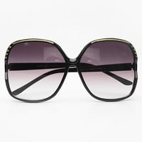Vintage Inspired Oversized Janet Sunglasses - Black #2955-2