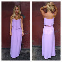Chiffon Open Back Maxi Dress