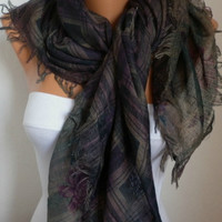 Double Side Scarf - Shawl -   - Free scarf - Multicolor - fatwoman