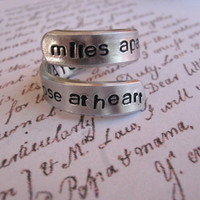 Long distance relationship, Miles apart, Deployment, BFF ring, Love ring, Anniversary gift, Boyfriend gifts, Sister rings, Personalized, BFF