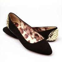 Qupid Gracie Studded Flats - Black