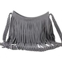 Gray Fashion Tassel Celebrity Shoulder Messenger Cross Body