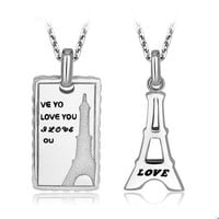 Personalized Engraved Eiffel Tower Couples Necklaces Set for 2 Personalized Couples Jewelry | Occasions Uncommon Gifts | Unique Phone Cases | Worldwide Shipping