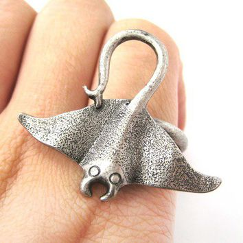 Adjustable Sea Creature Stingray Sting Ray Ring in Silver from Dotoly