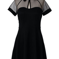 Mesh Peak Collar Skater Dress in Black
